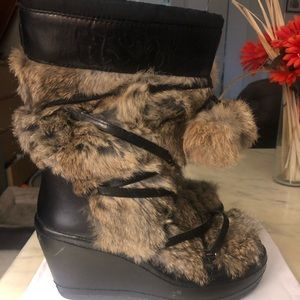 Leather /Fur Wedge boots